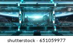 spaceship interior with view on ... | Shutterstock . vector #651059977