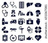 healthcare icons set. set of 25 ... | Shutterstock .eps vector #651067081