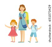 mother with her children going... | Shutterstock .eps vector #651073429