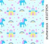unicorn pattern seamless raster | Shutterstock . vector #651073924
