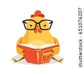 cute cartoon chick bird sitting ...   Shutterstock .eps vector #651076207