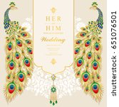 wedding invitation card... | Shutterstock .eps vector #651076501