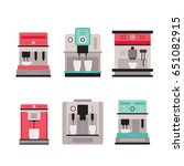 colorful coffee machine set... | Shutterstock .eps vector #651082915