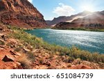 Small photo of A reservation of Indians of the Navajo, the USA. The river Colorado in abrupt coast from red sandstone