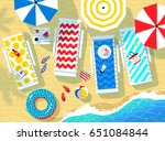 colorful summer top view vector ... | Shutterstock .eps vector #651084844