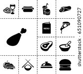 lunch icon. set of 13 filled...   Shutterstock .eps vector #651090727
