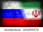 russia and iran flag  with... | Shutterstock . vector #651095575