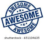 awesome blue round grunge stamp | Shutterstock .eps vector #651104635