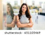 beautiful attractive woman... | Shutterstock . vector #651105469