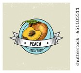 peach vintage  hand drawn fresh ...   Shutterstock .eps vector #651105511