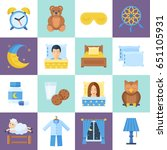 sleeping time object set  cute... | Shutterstock .eps vector #651105931