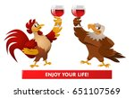 red rooster and american bald... | Shutterstock .eps vector #651107569