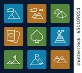 peak icons set. set of 9 peak... | Shutterstock .eps vector #651109021