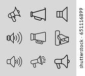 megaphone icons set. set of 9... | Shutterstock .eps vector #651116899