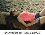 long hair asian beauty laying... | Shutterstock . vector #651118927