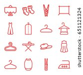 Stock vector cloth icons set set of cloth outline icons such as restaurant table baby socks hanger cloth 651121324