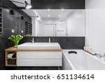 Black And White Bathroom With...
