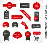 vector stickers  price tag ... | Shutterstock .eps vector #651135961