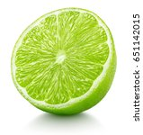 Ripe Half Of Green Lime Citrus...