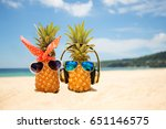 couple of attractive pineapples ... | Shutterstock . vector #651146575