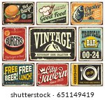 vintage restaurant and cafe bar ... | Shutterstock .eps vector #651149419