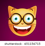 cute emoticon cat with glasses...   Shutterstock .eps vector #651156715