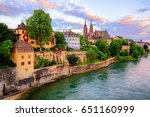 The Old Town Of Basel With Red...