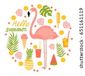 summer illustration with... | Shutterstock .eps vector #651161119