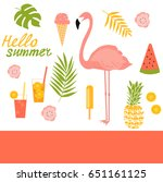 summer illustration with... | Shutterstock .eps vector #651161125