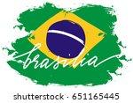 brasilia brazil flag painted...   Shutterstock .eps vector #651165445