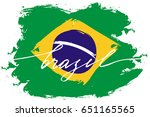 brazil flag handwriting text... | Shutterstock .eps vector #651165565