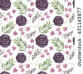 seamless pattern of watercolor... | Shutterstock . vector #651165877