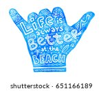 blue watercolor shaka hand... | Shutterstock .eps vector #651166189
