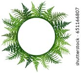 fern frond frame circle vector... | Shutterstock .eps vector #651166807