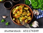 young fried potatoes with... | Shutterstock . vector #651174349