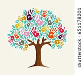 a helping hand  tree made of... | Shutterstock .eps vector #651178201
