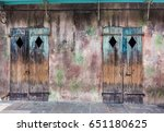 a pair of old  weathered ... | Shutterstock . vector #651180625