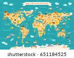 animal map for kid. world... | Shutterstock . vector #651184525