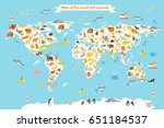 animals world map. colorful... | Shutterstock . vector #651184537