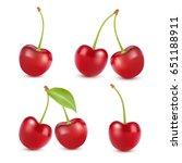 cherry realistic fruit vector...   Shutterstock .eps vector #651188911