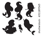 silhouettes of mermaid girls... | Shutterstock .eps vector #651189565