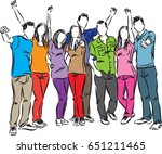 group of friends happy people... | Shutterstock .eps vector #651211465