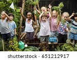 children are in the garden... | Shutterstock . vector #651212917