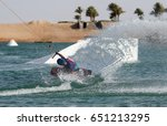 wake boarding sportsman makes... | Shutterstock . vector #651213295