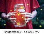 Stock photo fireflies in a jar 651218797