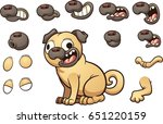 cute cartoon pug with different ... | Shutterstock .eps vector #651220159