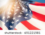 american flag with blue sky and ...   Shutterstock . vector #651221581