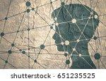 silhouette of a woman's head.... | Shutterstock . vector #651235525