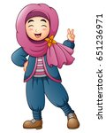 happy muslim girl giving two... | Shutterstock . vector #651236971
