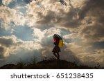 umbrella and pretty girl... | Shutterstock . vector #651238435